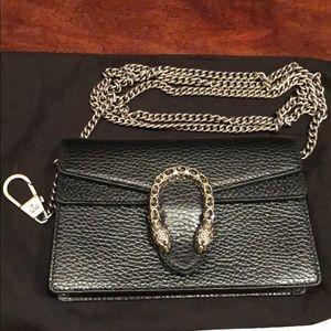 1e2b829a9fb GUCCI Dionysus Leather Super Mini Bag in Black